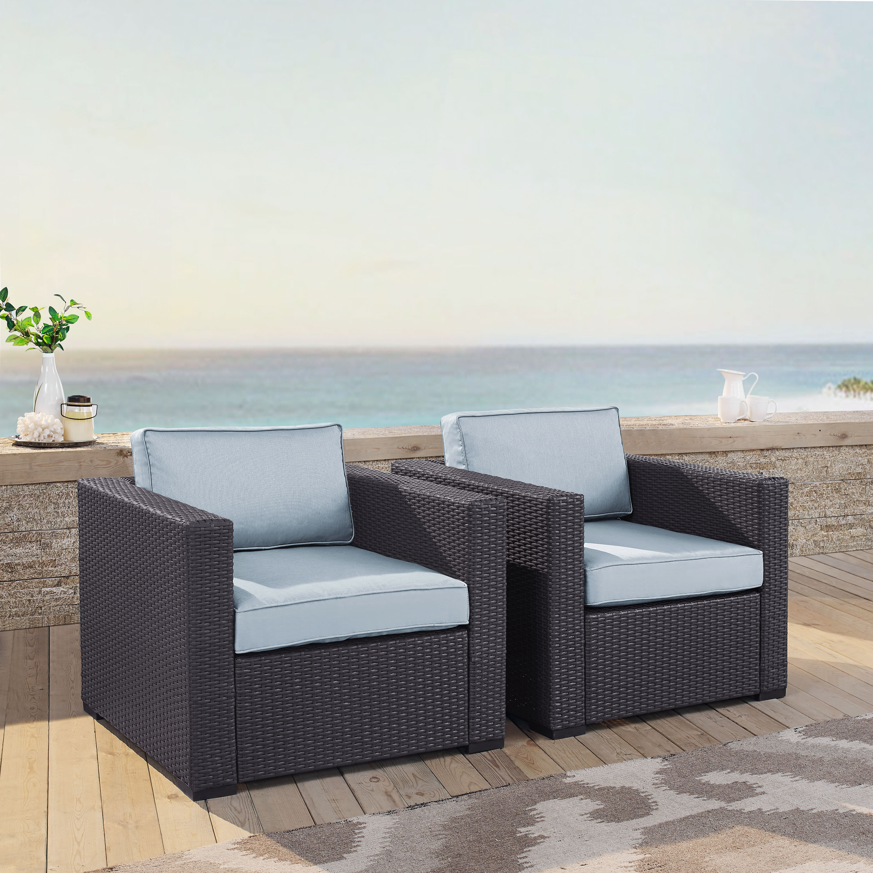 Highland Dunes Dinah 2 Person Outdoor Wicker Chair with Cushions ...
