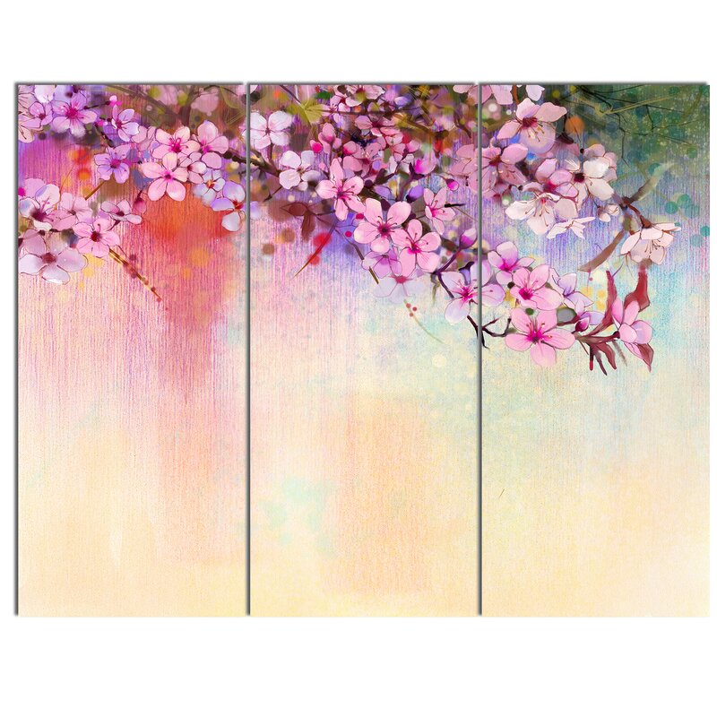 painting cherry 3 piece wall art on wrapped canvas set u0027