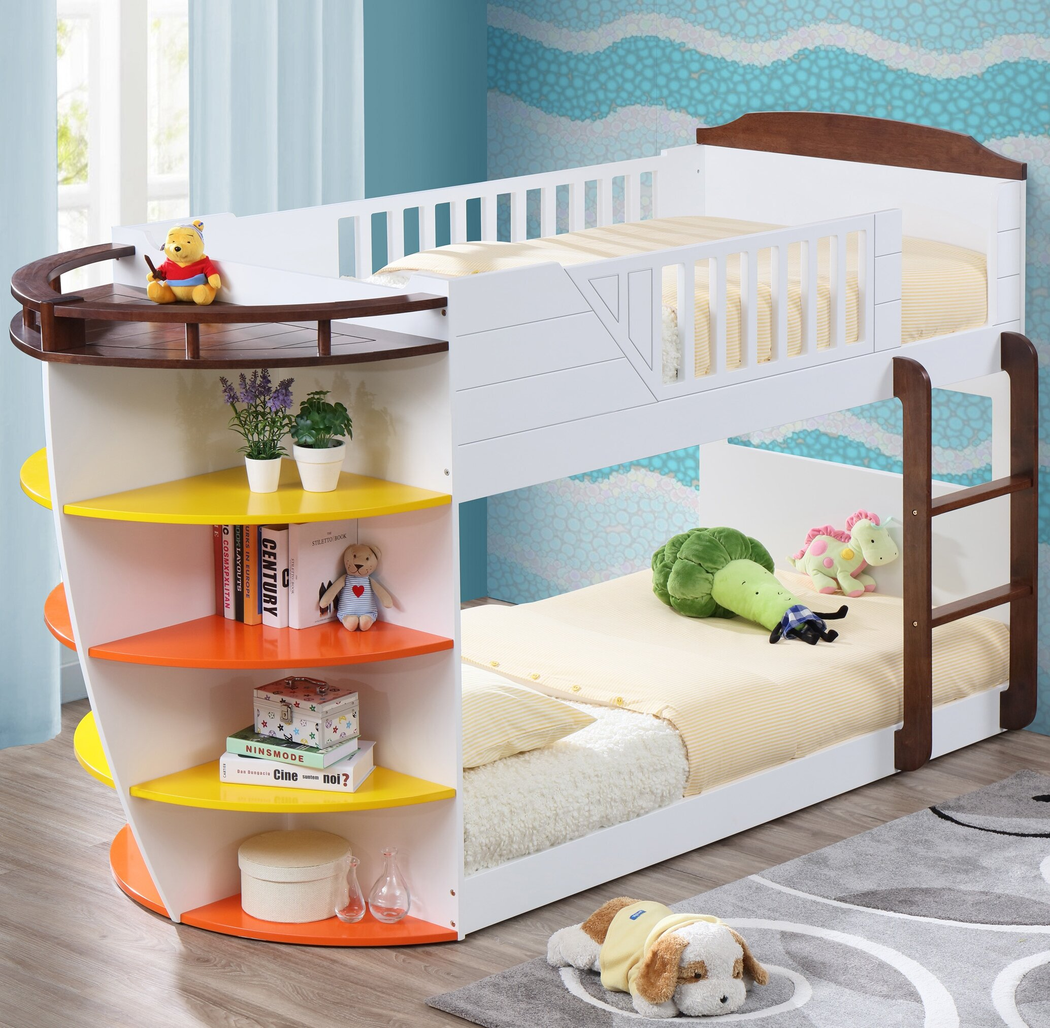 Zoomie Kids Crewkerne Twin Over Twin Bunk Bed With Storage Shelves