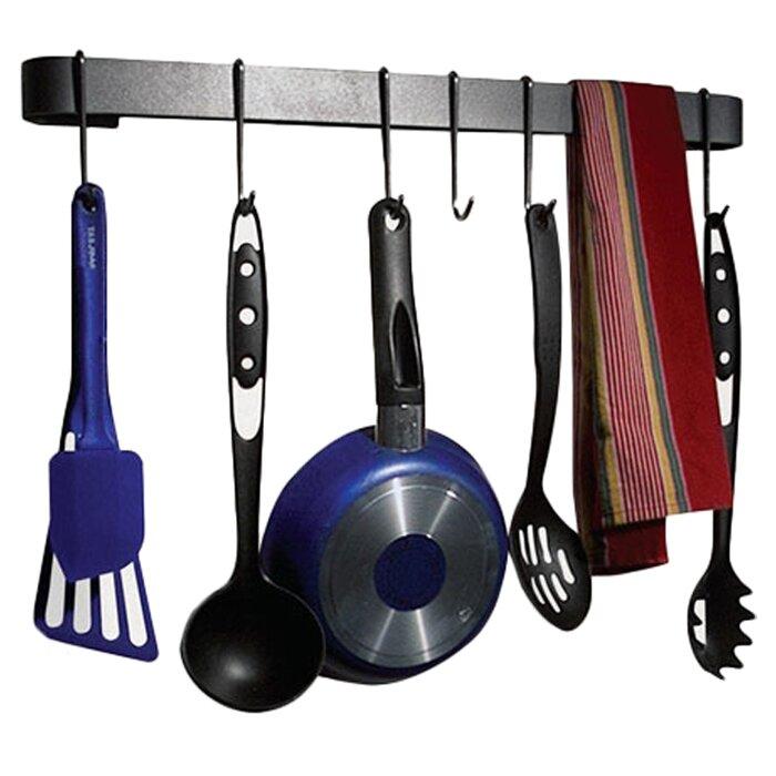 Wall Hanging Pot Rack enclume rack it up! wall mounted utensil bar pot rack & reviews