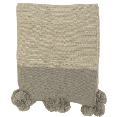 Brayden Studio Krista Pompom Cotton Throw Color: Light Gray/Natural