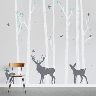 Birch Tree Forest With Deer Wall Decal