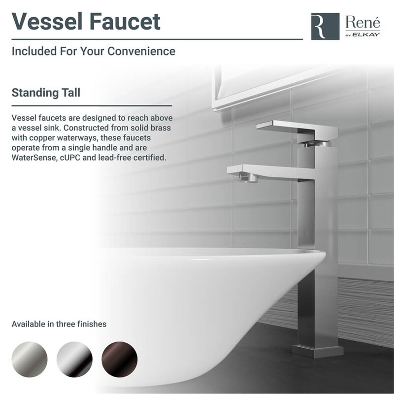 Vitreous China Circular Vessel Bathroom Sink with Faucet and Overflow