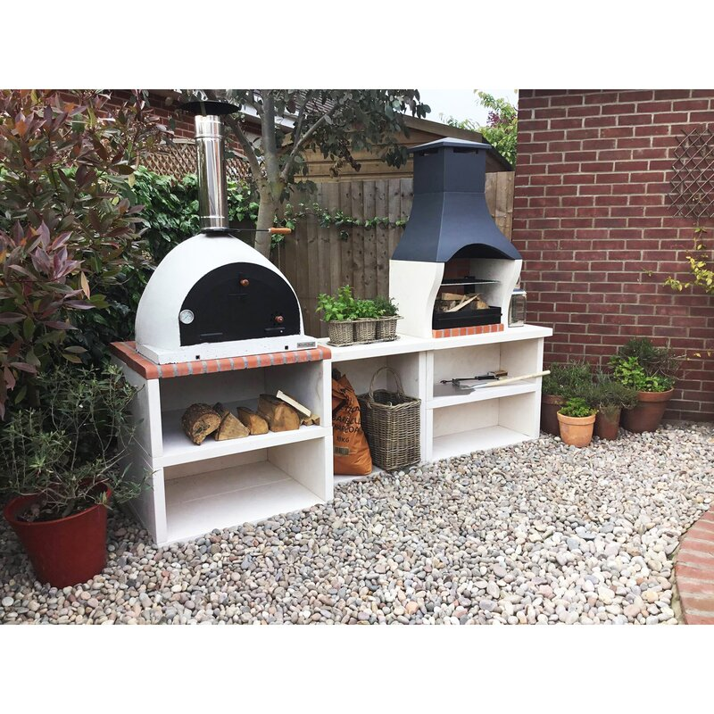 Wildon Home Napoli Outdoor Kitchen Combo BBQ And Wood