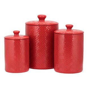 red kitchen canisters jars you ll love wayfair rh wayfair com  red canister sets kitchen walmart