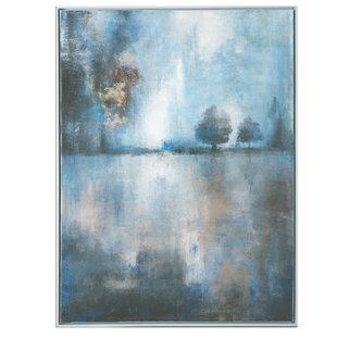 Framed Oil Painting Print On Canvas In Blue Gray