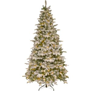 frosted green faux fir artificial christmas tree with white light with stand - Outdoor Artificial Christmas Trees