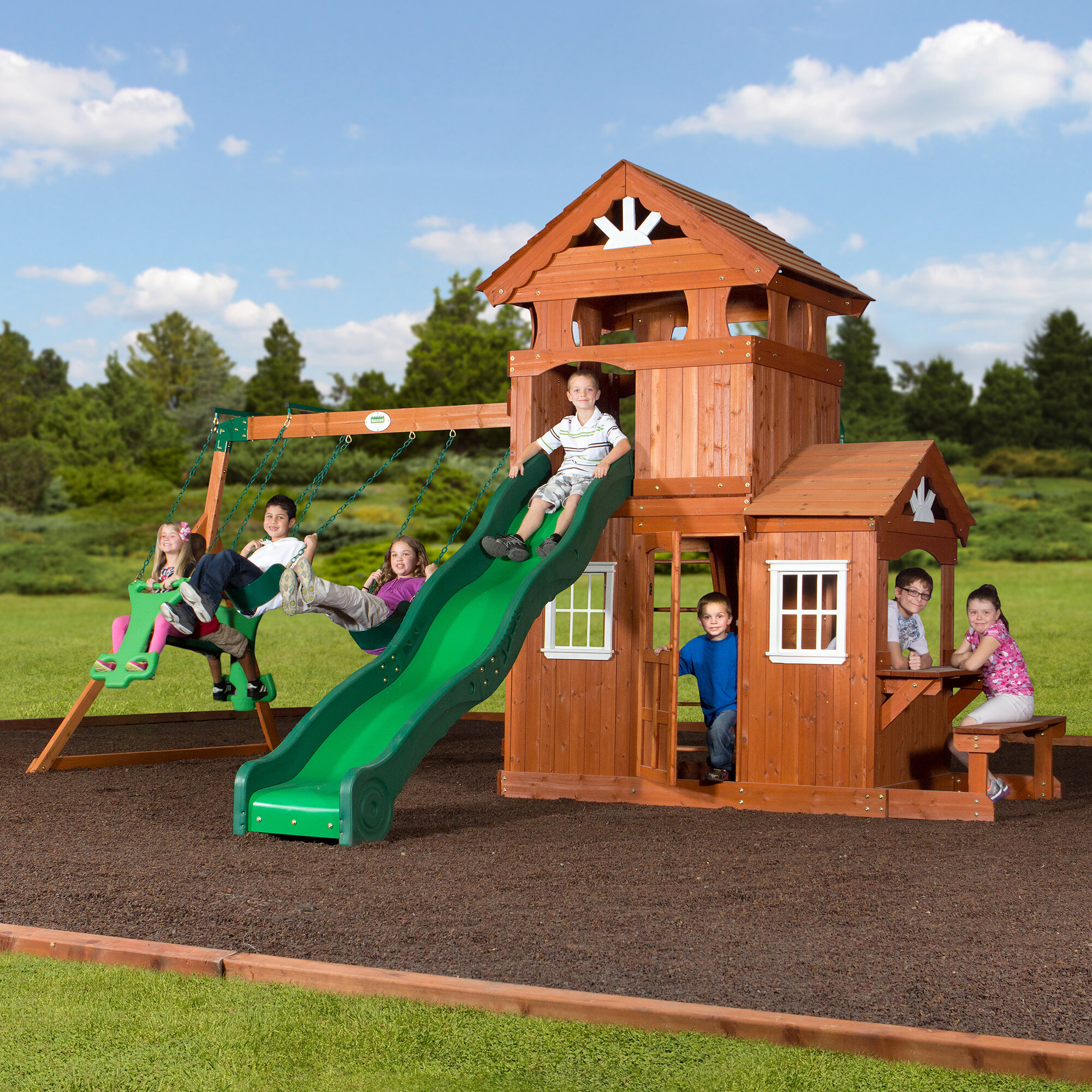 Backyard Discovery Shenandoah All Cedar Swing Set Reviews Wayfair