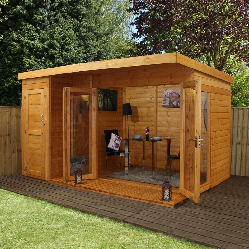 Mercia garden products 12 x 8 ft summer house with side for Garden designs with summer house