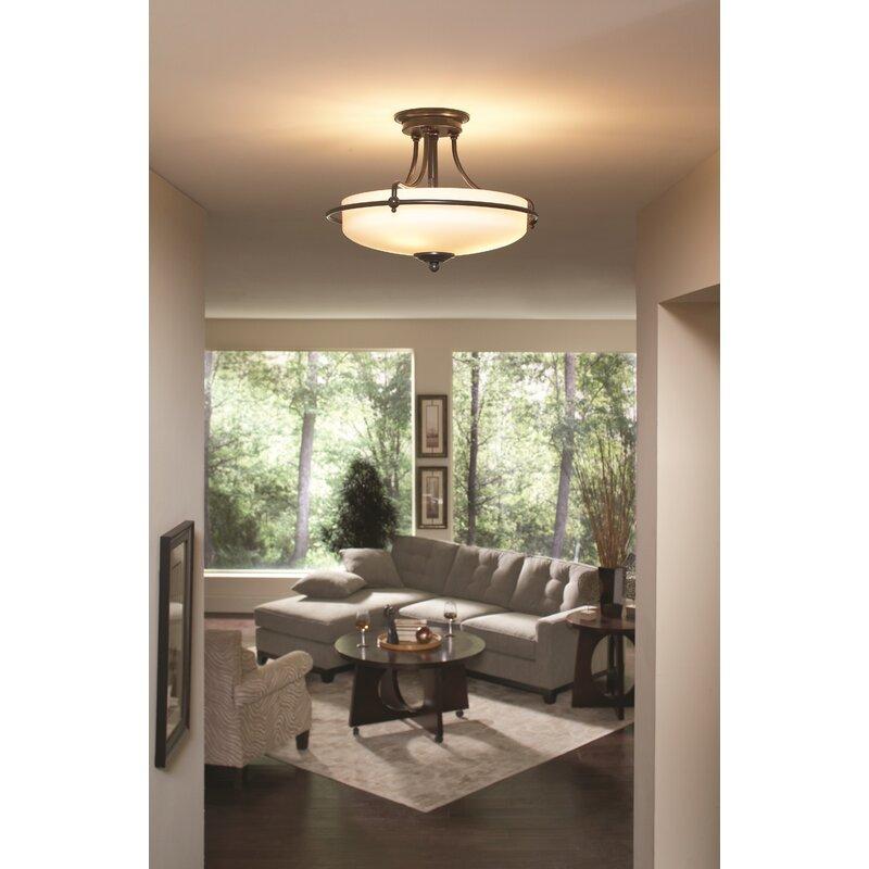 Rockwood 3 Light Semi Flush Ceiling