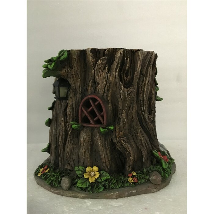 Fairy Garden Tree Trunk House With Solar LED Lights Statue