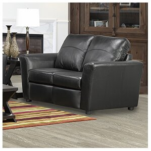 Delta Italian Standard Leather Loveseat by C..