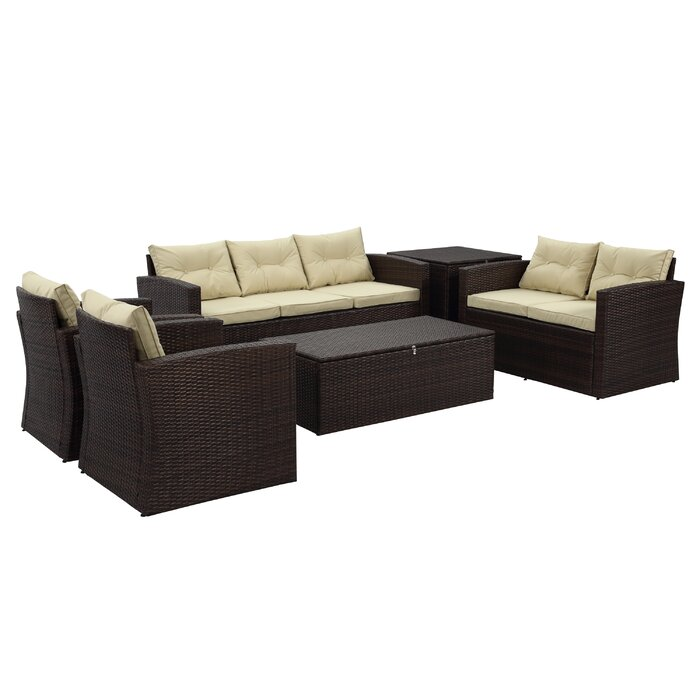 Arlington 6 Piece Rattan Sofa Seating Group with Cushions