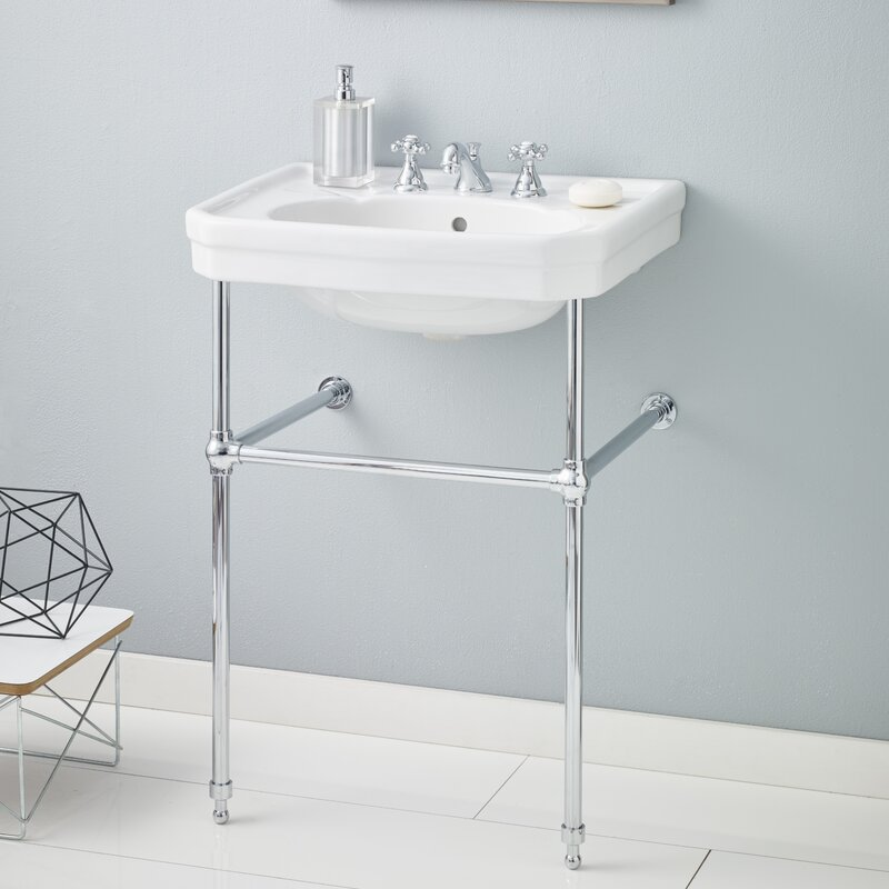 """CheviotProducts Mayfair Metal 25"""" Console Bathroom Sink With Overflow & Reviews"""