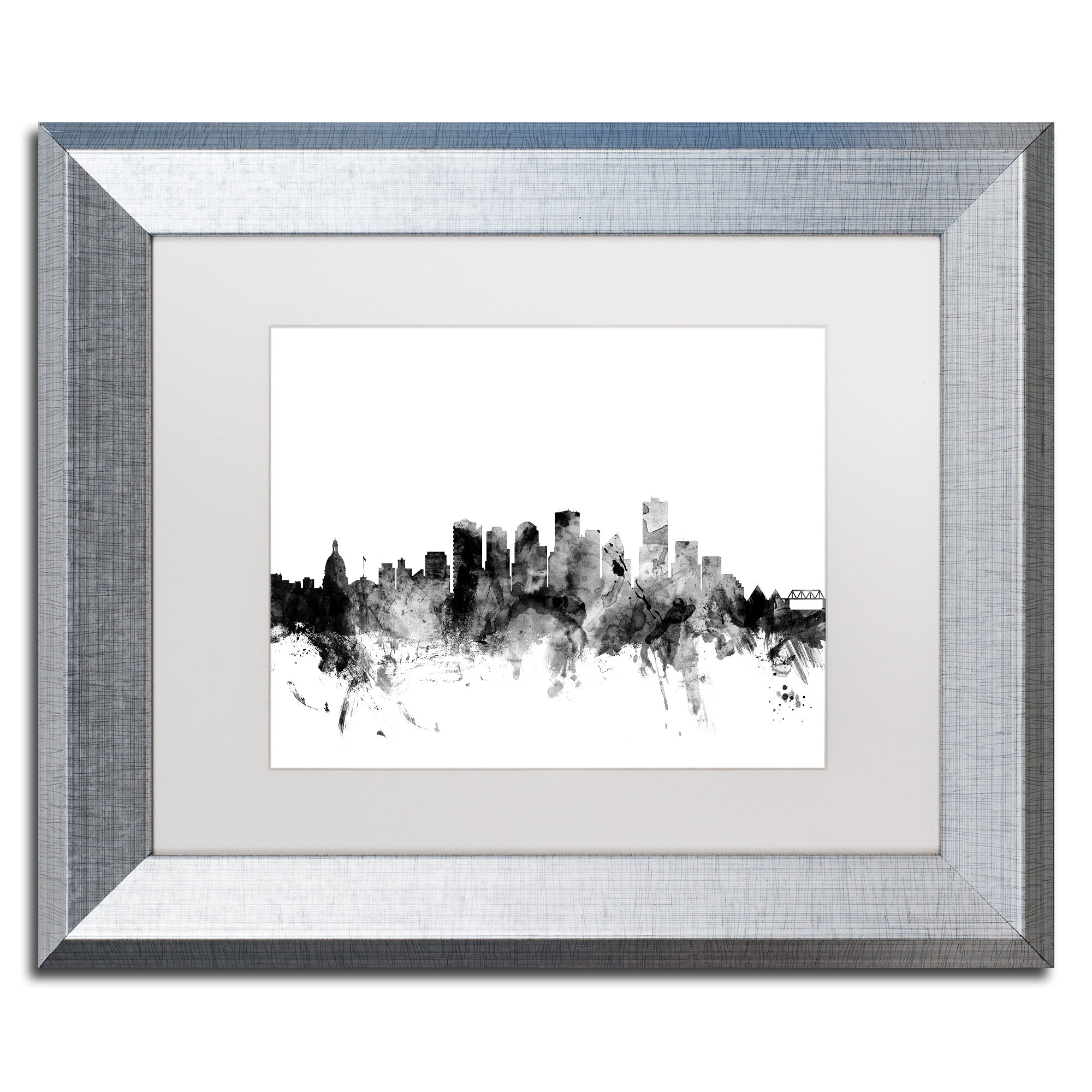 Trademark Art Edmonton Canada Skyline B Amp W Framed Graphic