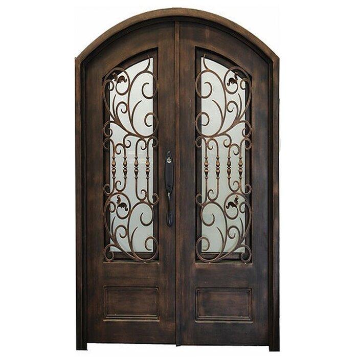 Iron Doors Depot Nicolae Premium Eyebrow Arched Glass Iron Prehung