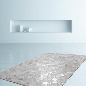 Handgefertigter Teppich Spark 210 in Grau/Silber