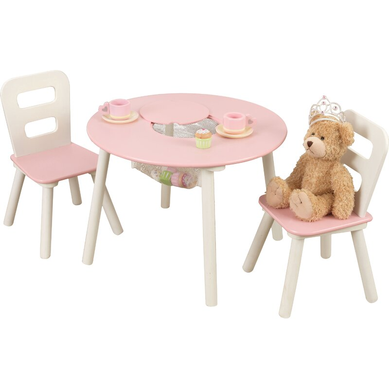 Kidu0027s 3 Piece Round Table And Chair Set