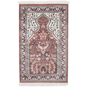 Kashmir Kerman Hand-Knotted Brown/Cream Area Rug