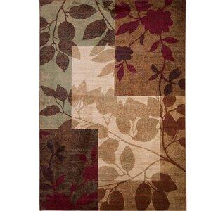 Raffin Beige/Brown Leaves Area Rug