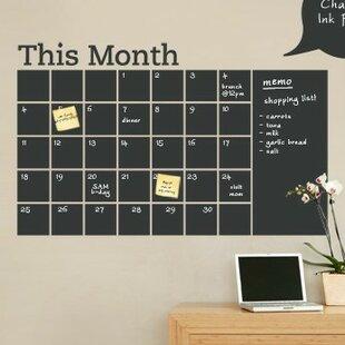 Calendar With Memo Chalkboard Wall Decal