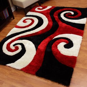 Buy Shaggy Red/Ivory Abstract Swirl Area Rug!