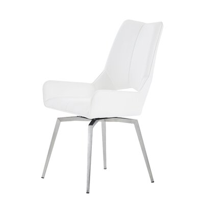 Brayden Studio Kimbell Bucket Upholstered Dining Chair Color: White