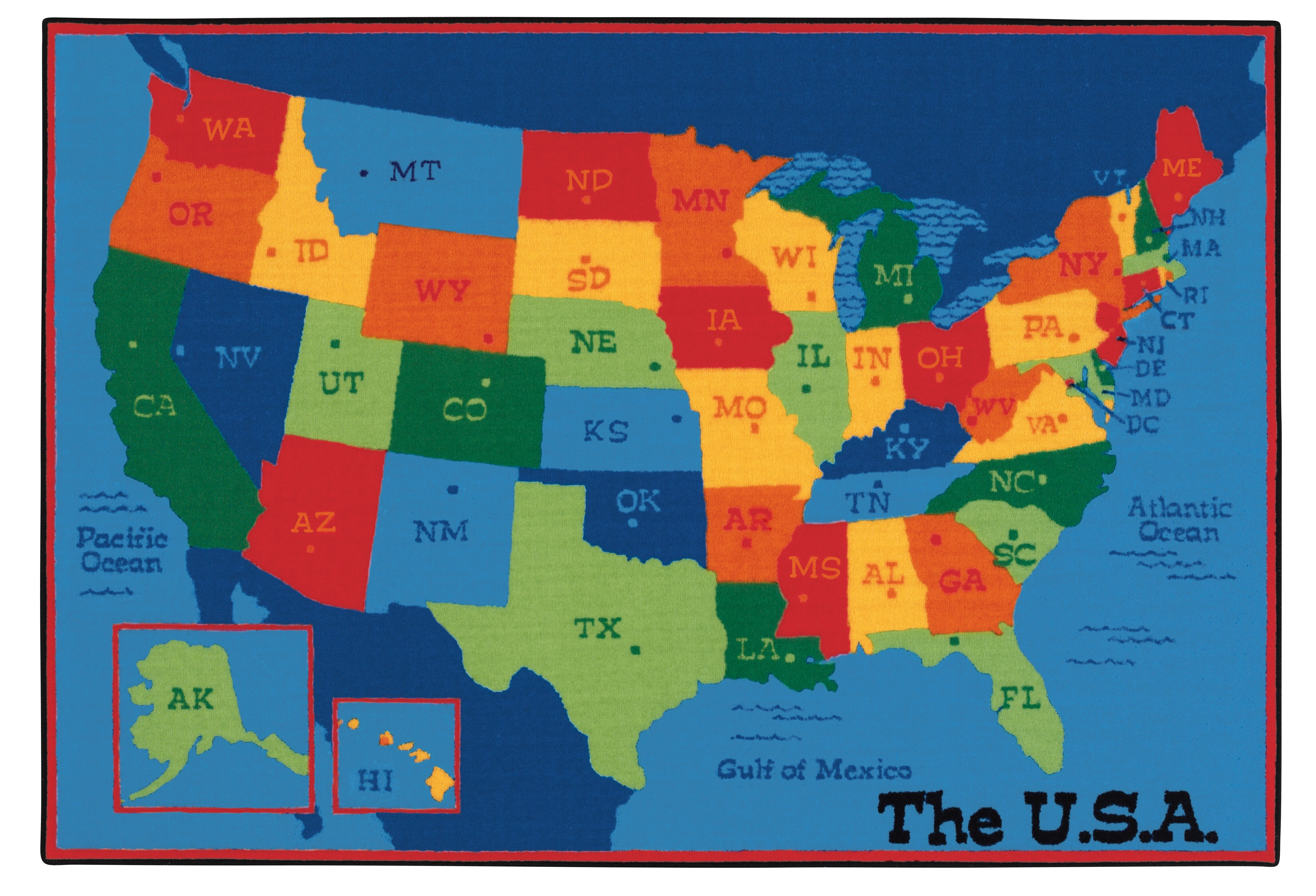 Usa Of Map.Carpets For Kids Value Plus Usa Map Tufted Area Rug Reviews Wayfair