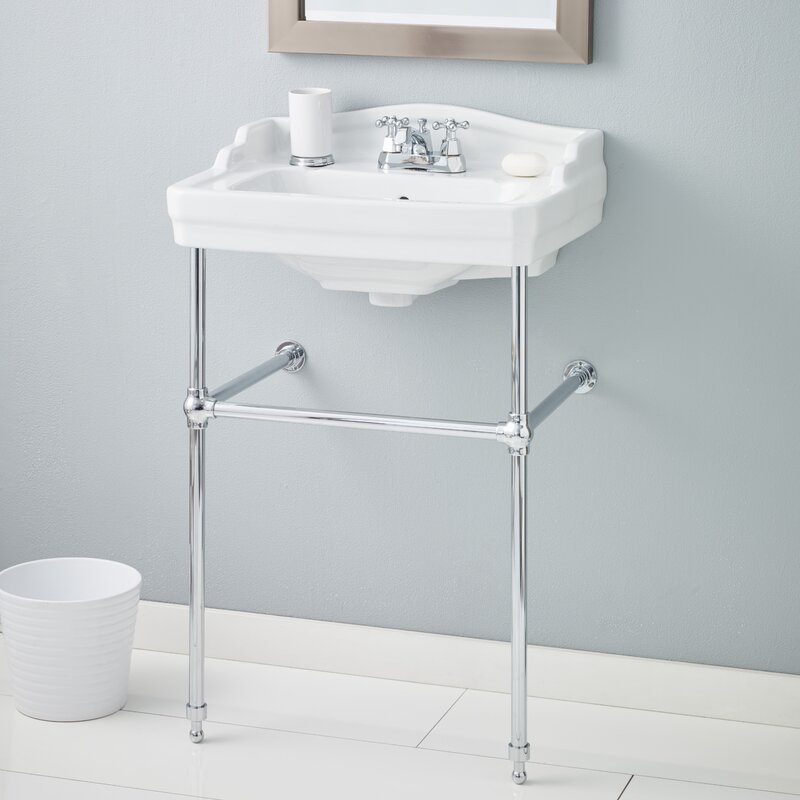 """Essex Metal 24"""" Console Bathroom Sink with Overflow"""