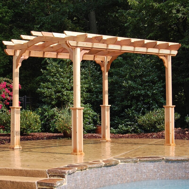 10 Ft. W x 12 Ft. D Solid Wood Pergola - Suncast 10 Ft. W X 12 Ft. D Solid Wood Pergola & Reviews Wayfair