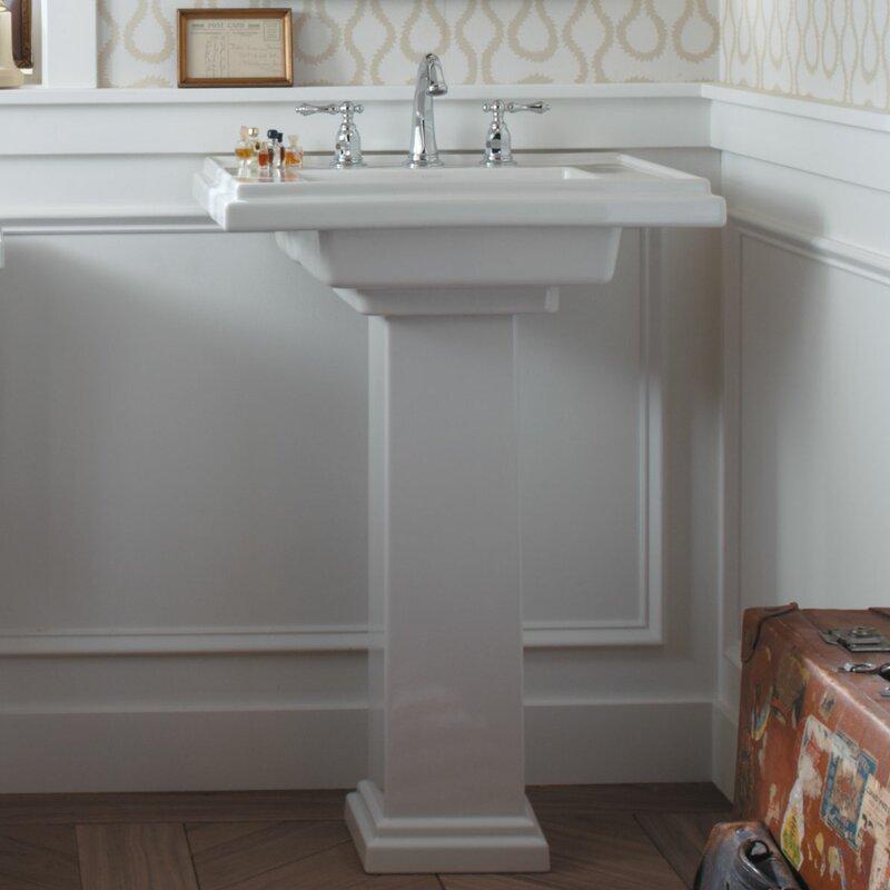 Tresham Ceramic 30 Pedestal Bathroom Sink With Overflow