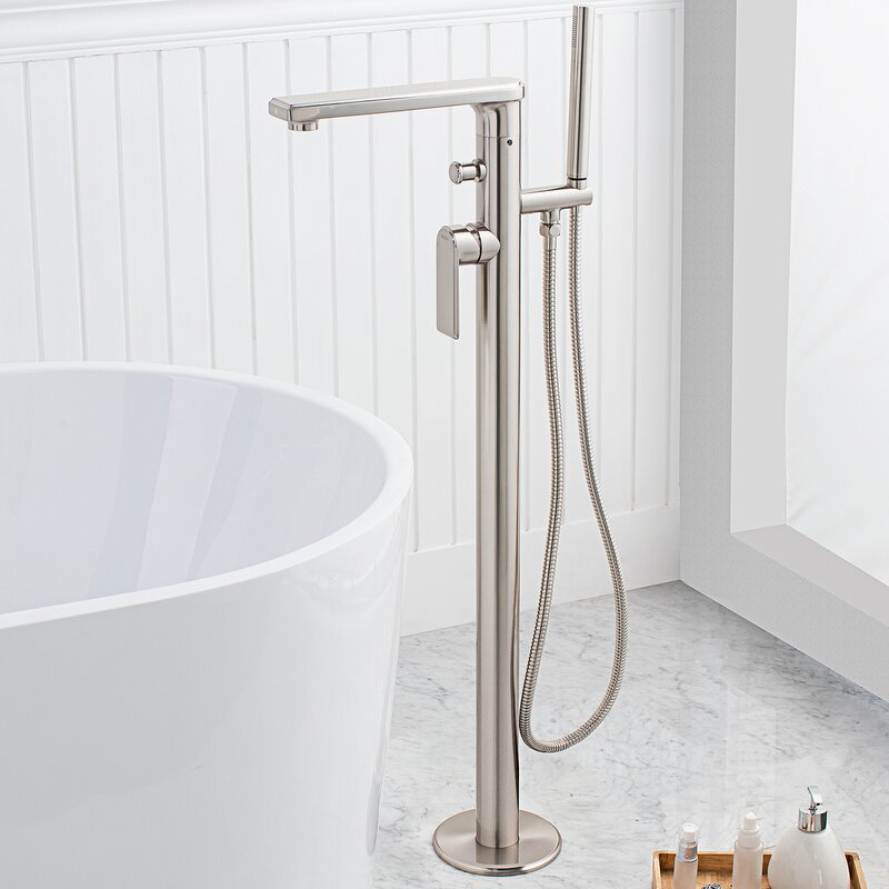 Arminius Single Handle Floor Mounted Freestanding Tub Filler With Hand  Shower
