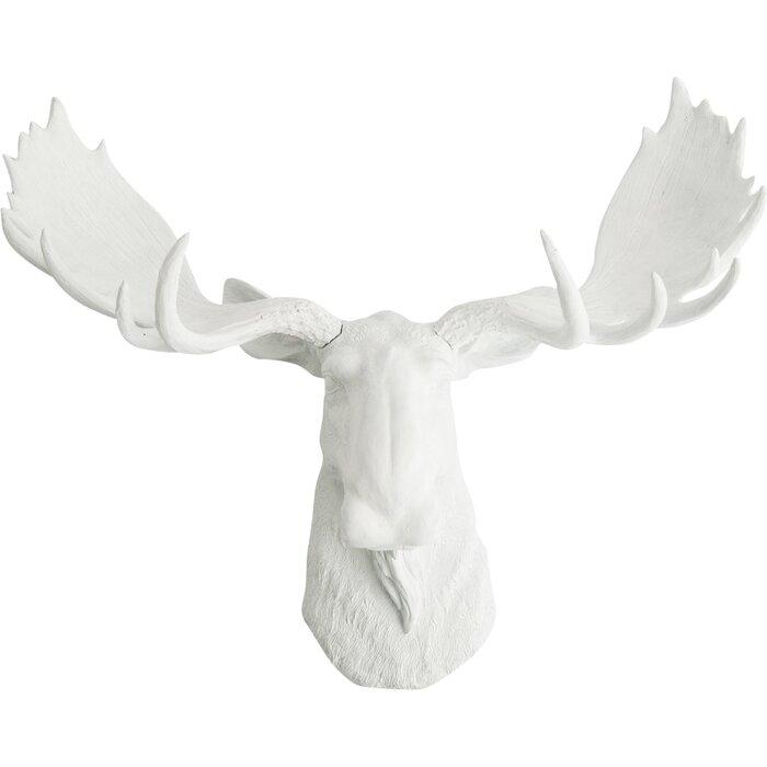 White Faux Taxidermy The Edmonton Faux Moose Head Wall Décor ...