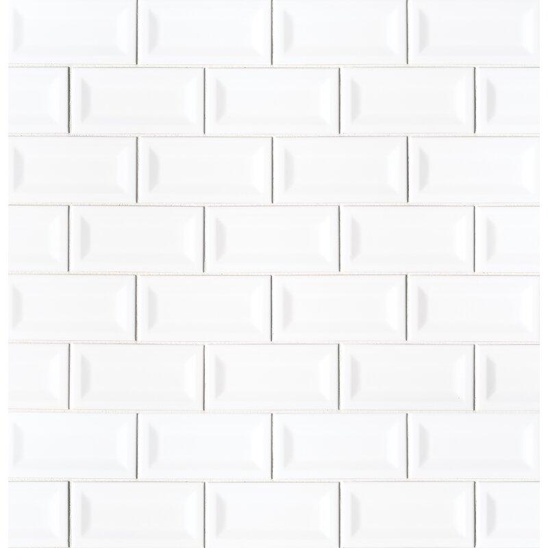 Msi Verted Beveled 3 X 6 Ceramic Subway Tile In Glossy White Wayfair