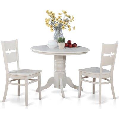 Langwater 3 Piece Wood Bistro Set Beachcrest Home Color: Linen White