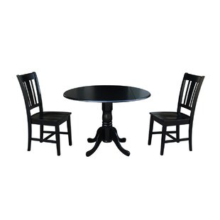 Amezquita 3 Piece Drop Leaf Solid Wood Dining Set