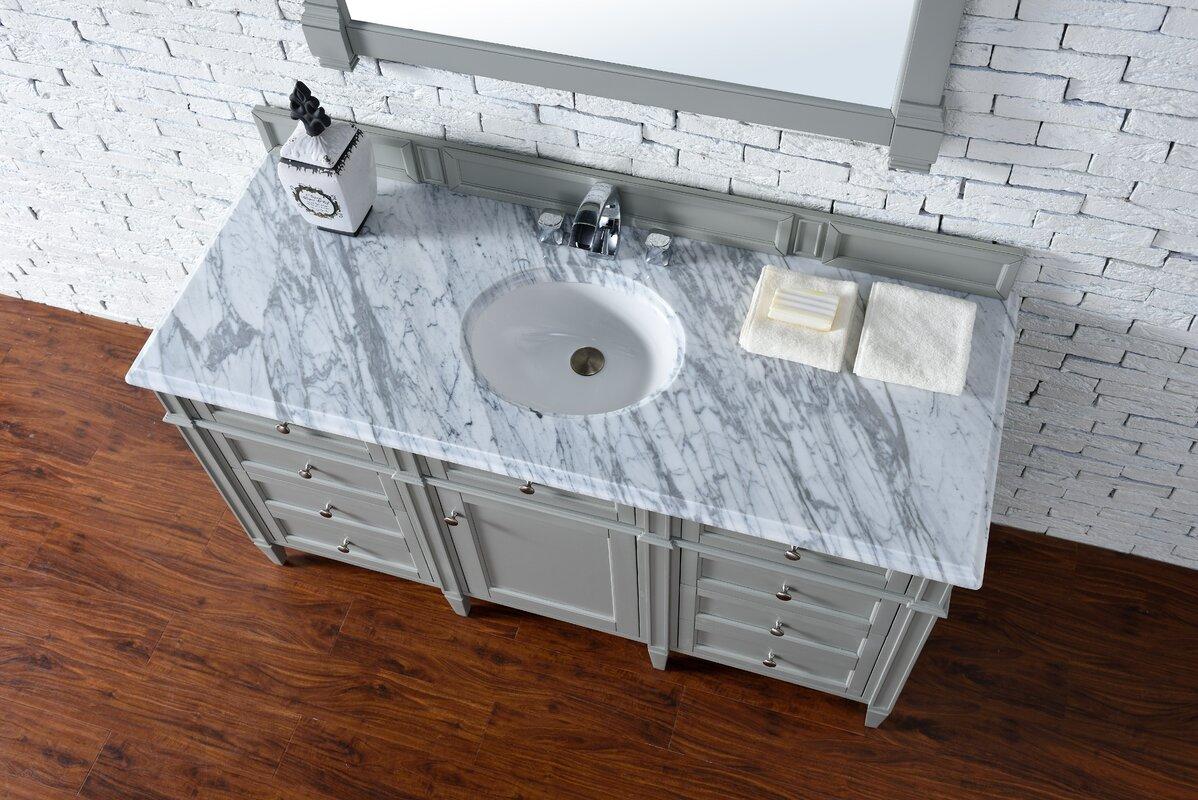 Deleon 60 Single Urban Gray Stone Top Bathroom Vanity Set