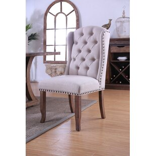 Salley Rustic Wingback Upholstered Dining Chair (Set of 2)