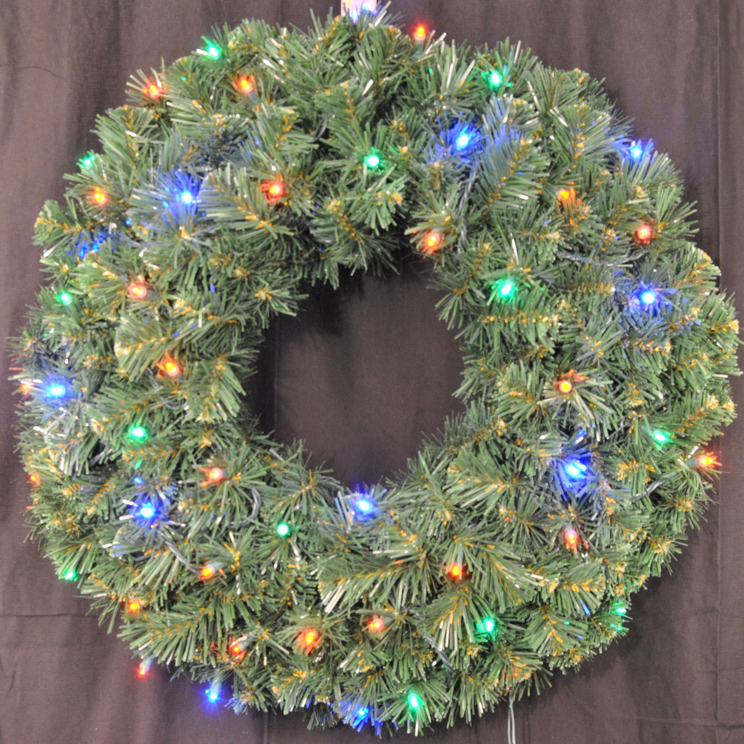 Queens of Christmas Pre-Lit Battery Operated LED Sequoia Wreath ...