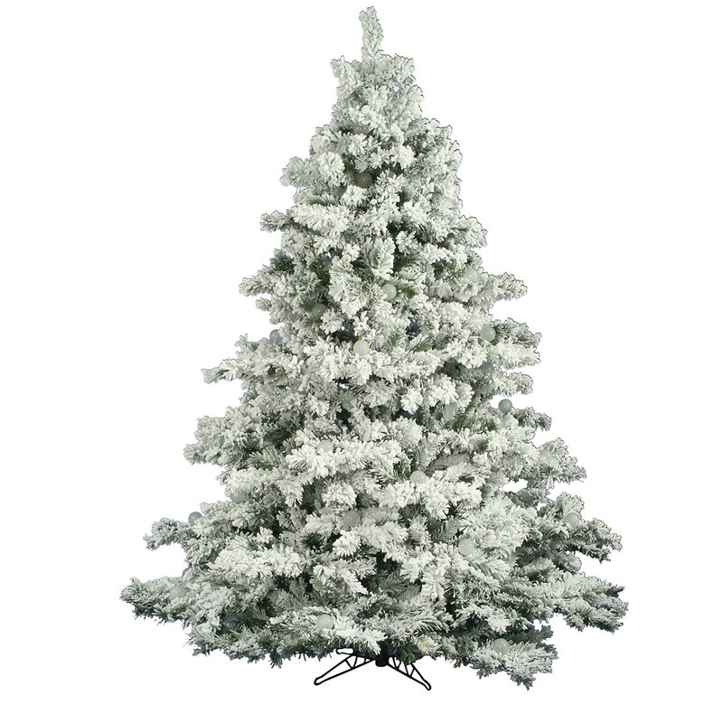 Flocked Alaskan White Green Pine Artificial Christmas Tree - The Holiday Aisle Flocked Alaskan White Green Pine Artificial