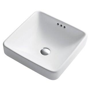 Elavo Ceramic Square Semi-Recessed Bathroom Sink with Overflow