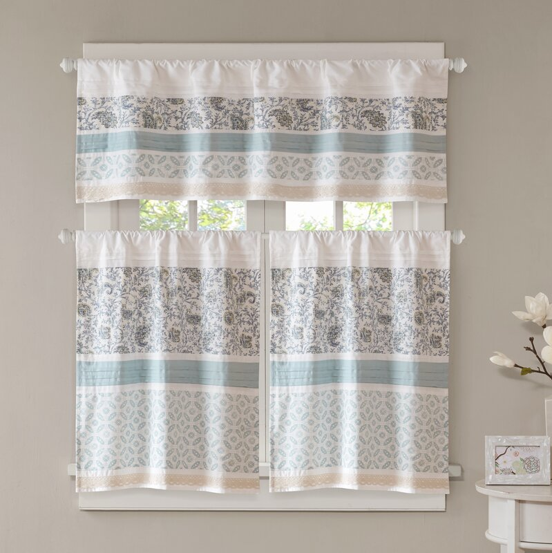 Marvelous Chambery Printed And Pieced Rod Pocket Kitchen Curtains
