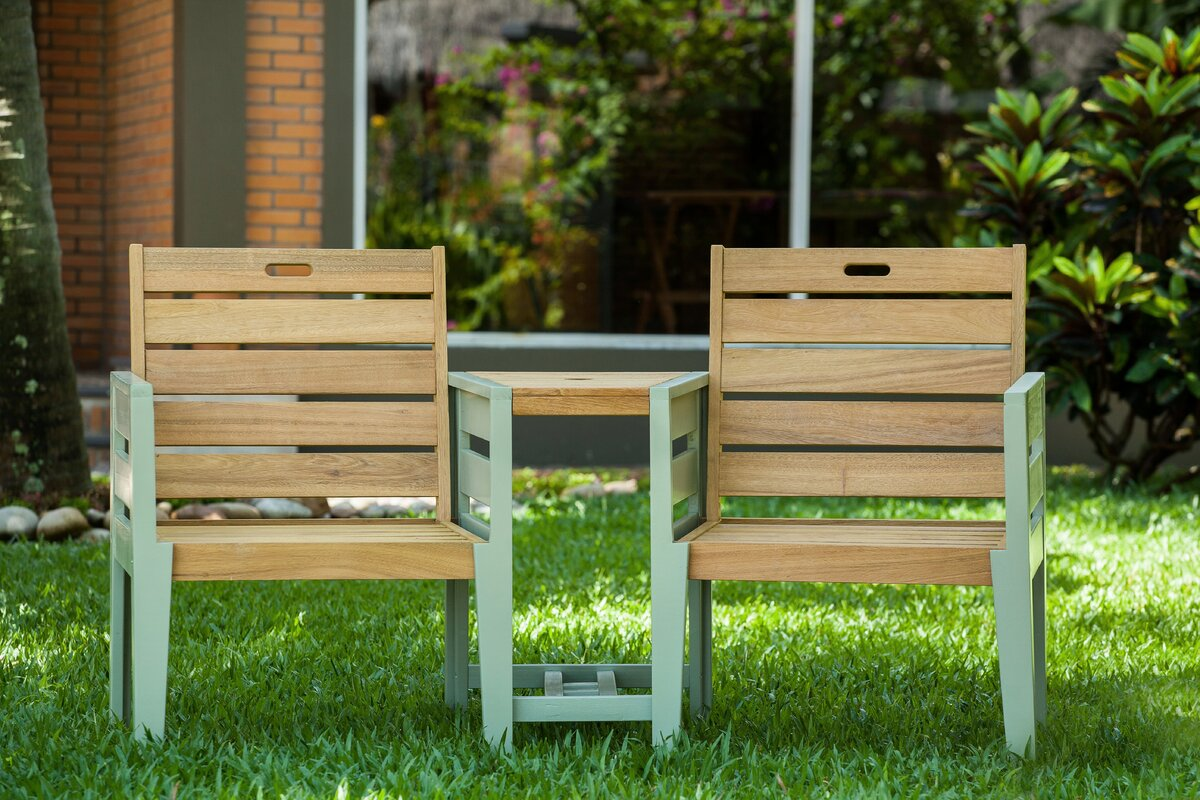 garten living 2 sitzer gartenbank osier aus holz. Black Bedroom Furniture Sets. Home Design Ideas