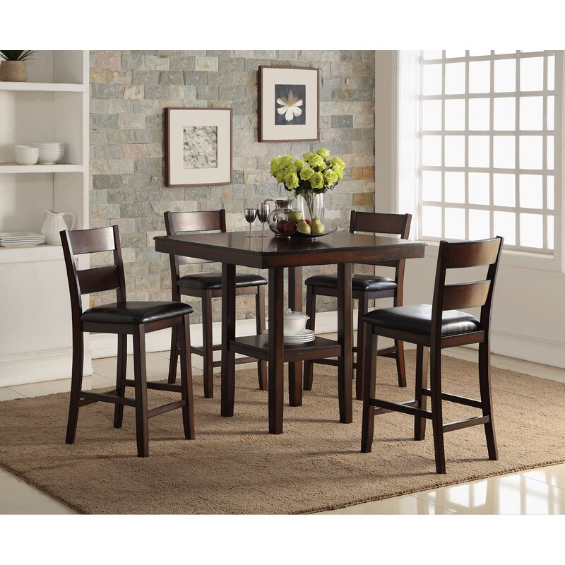 Cromwell Counter 5 Piece Breakfast Nook Solid Wood Dining Set