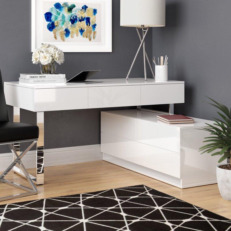 Claysville Modern Desk With Hutch Amp Reviews Allmodern