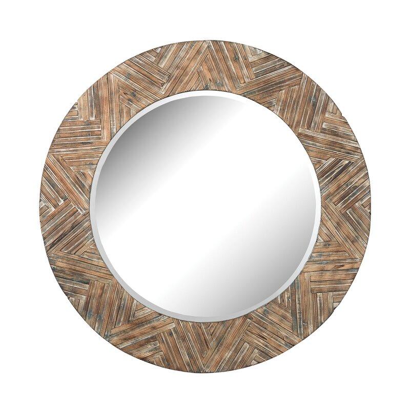 Large Round Wood Frame Wicker Mirror & Reviews | AllModern