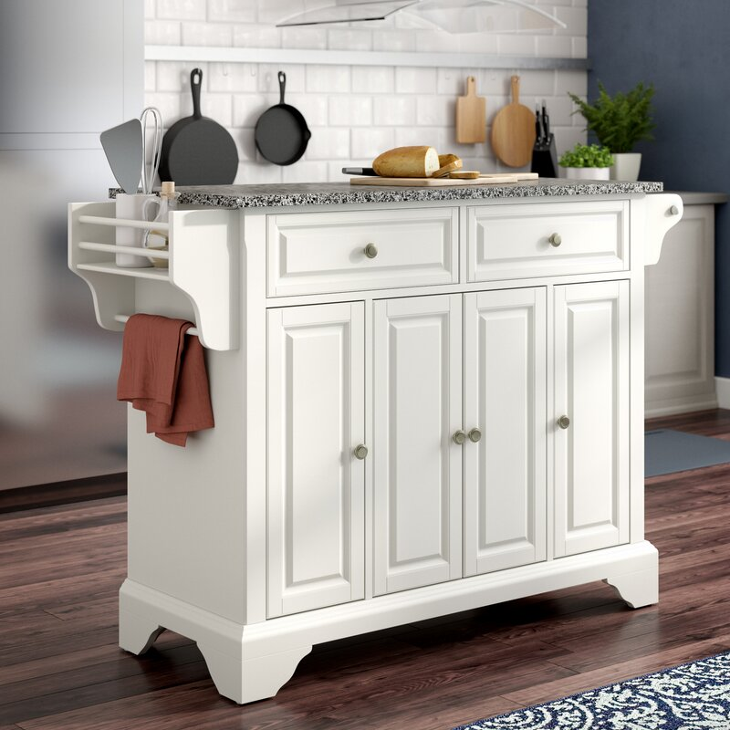 Easy Home Kitchen Island With Granite Top Assembly