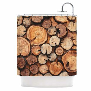 Rustic Wood Logs Shower Curtain