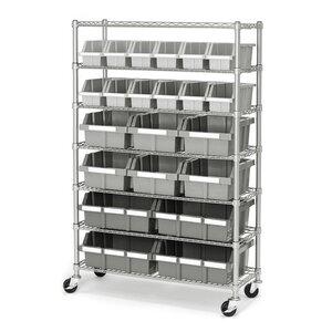 Commercial 7 Shelf Bin Rack Storage System