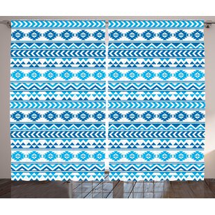Brownleigh Tribal Aztec Pattern With Native American Geometric Folk Cultural Forms Primitive Image Graphic Print Text Semi Sheer Rod Pocket Curtain Panels